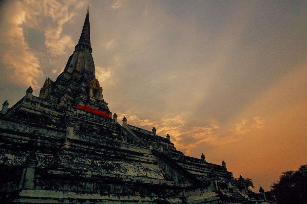Sunset sky over a temple in Ayutthaya