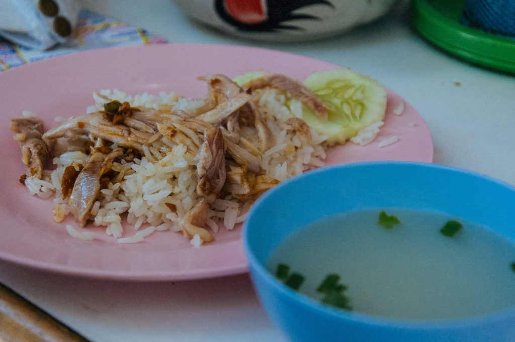 Minced chicken, rice, and soup, Bangkok