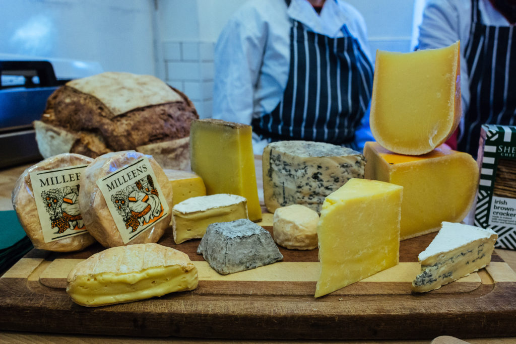 Selection of Irish made cheeses, Dublin
