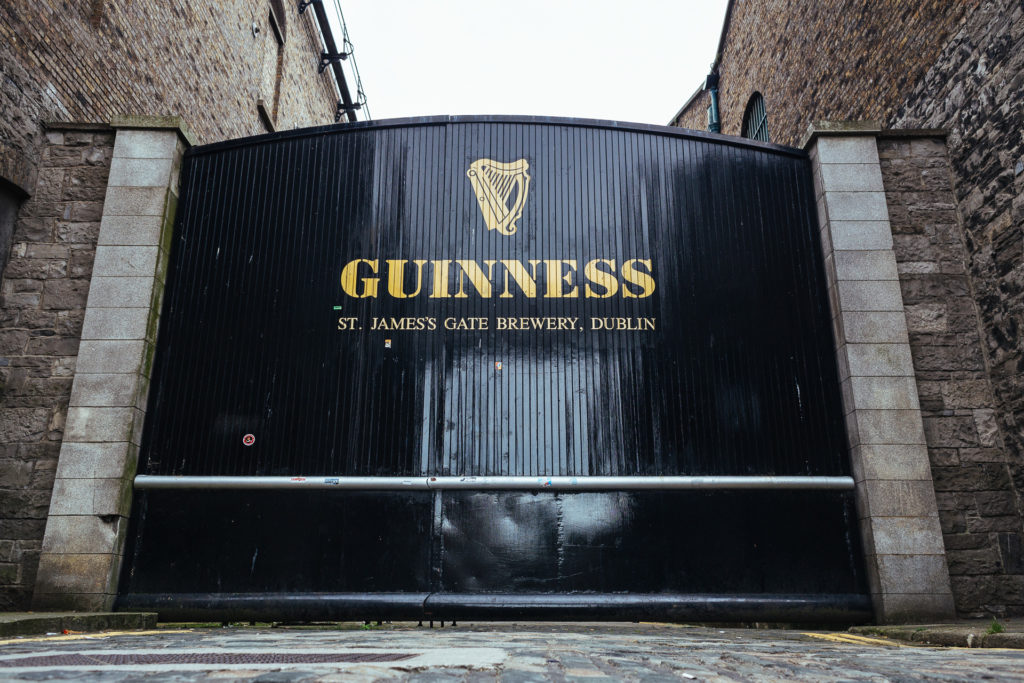 Ancient front door of the Guinness Store House in Dublin