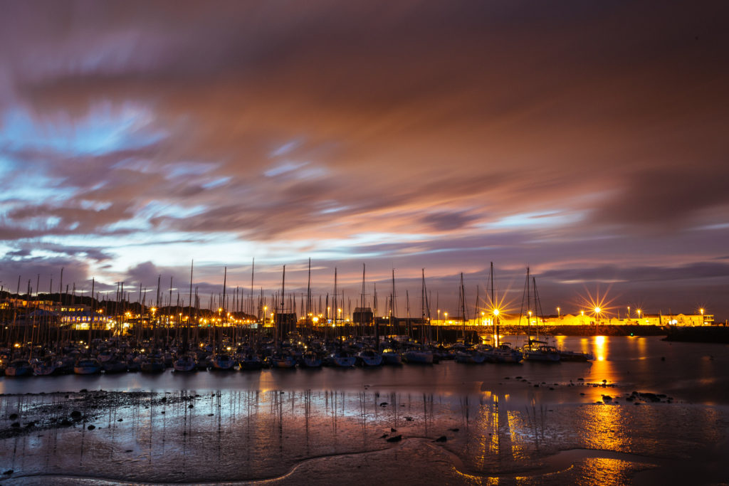 Howth harbor at night