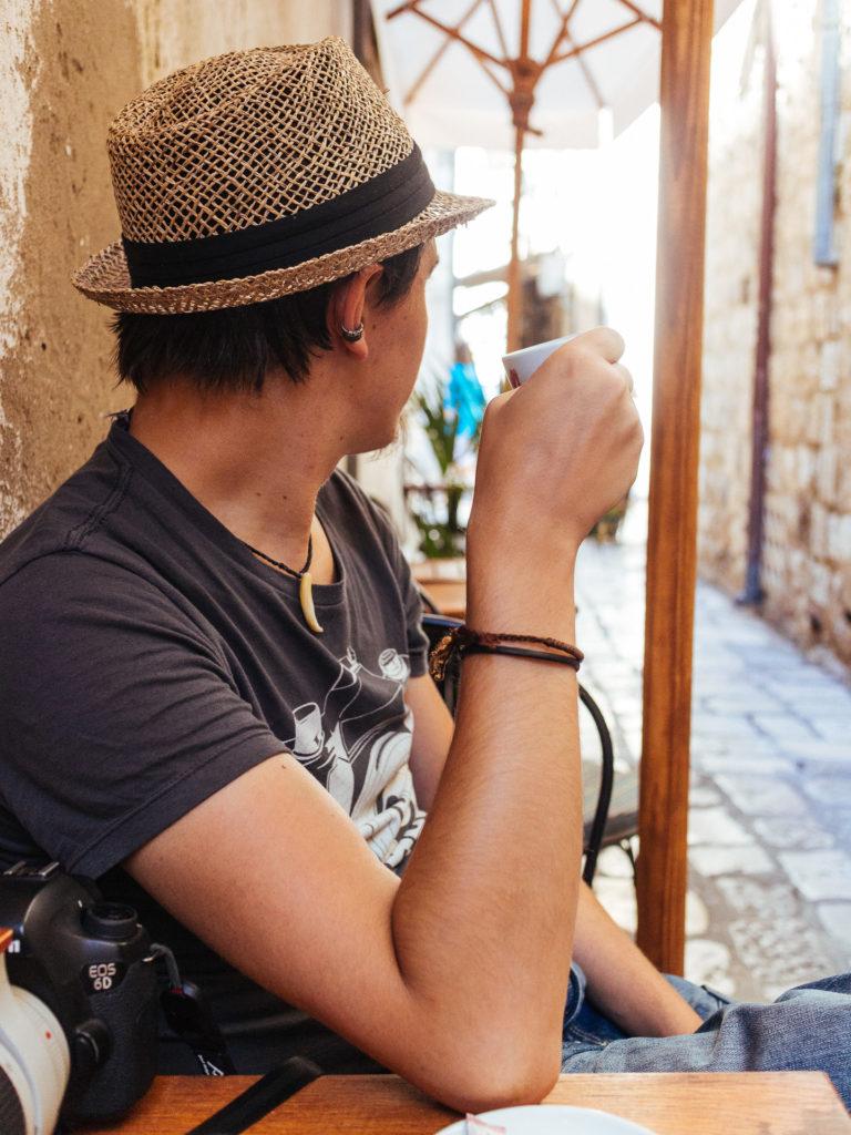 Karl celebrating coffee O'Clock in Dubrovnik