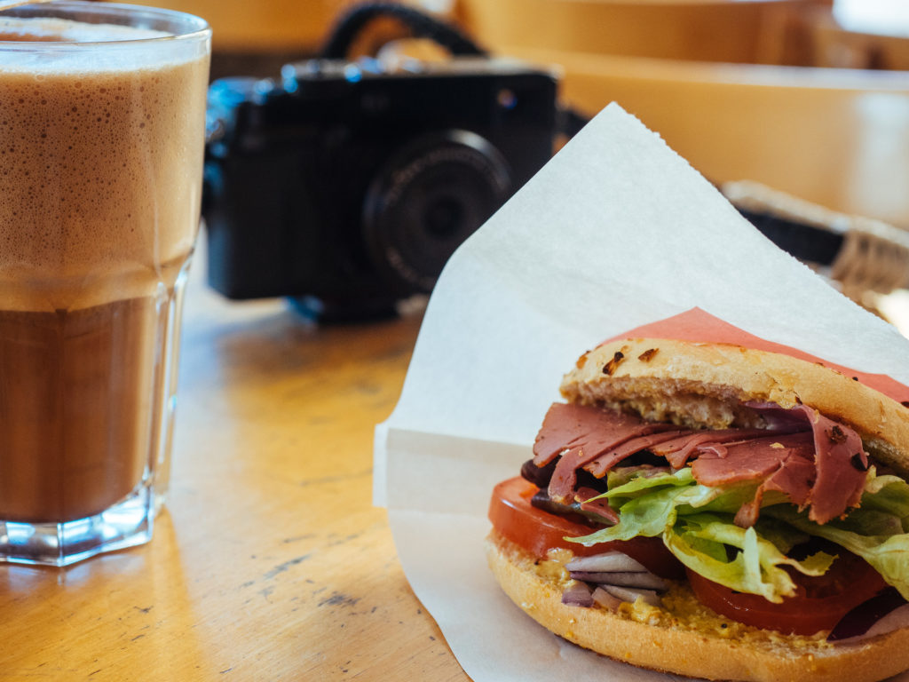 Pastrami bagel and moccachino, Village Bagels, Bagel Espresso Bar in Amsterdam