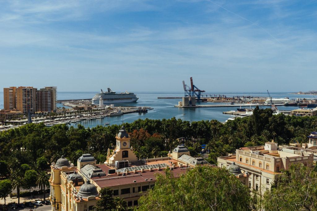 Vue du port de Malaga depuis l'Alcazaba