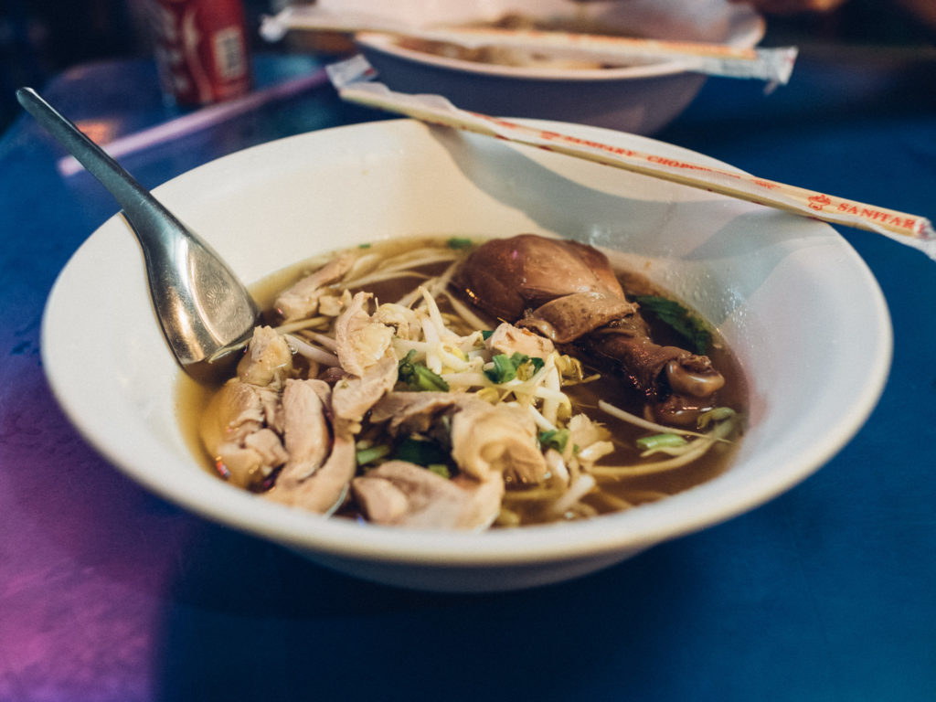 Chicken soup from a street food stall, Bangkok