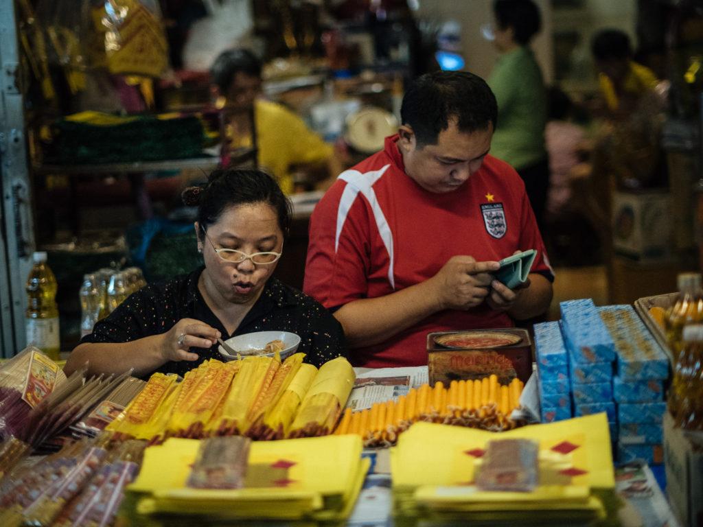 Locals eating street food, Bangkok