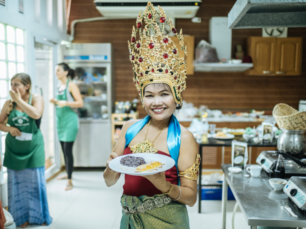 May Kaidee in her cooking class, Bangkok