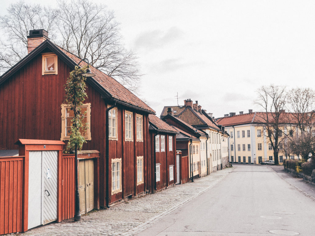 Red wooden houses, Stockholm