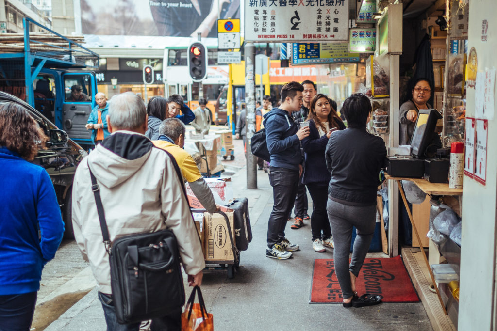 Restaurant cashier on the street, Hong Kong