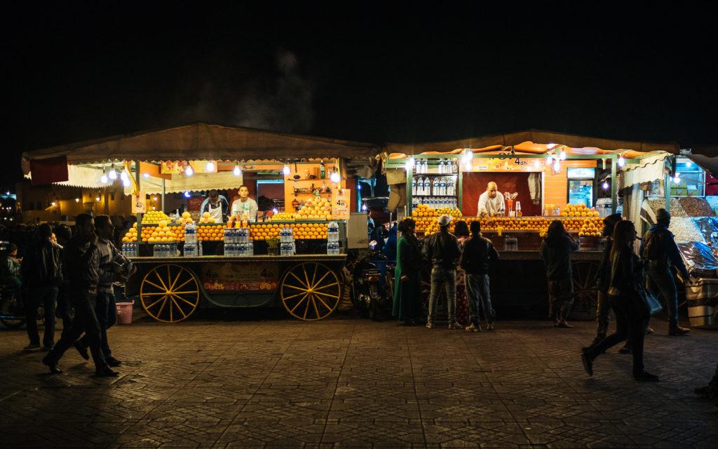 Vendeurs de jus de fruits, Jamma El Fna, Marrakech