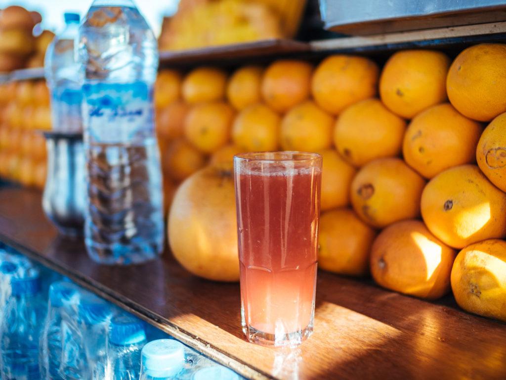 Jus de fruits frais orange pamplemousse, Jamma El Fna, Marrakech