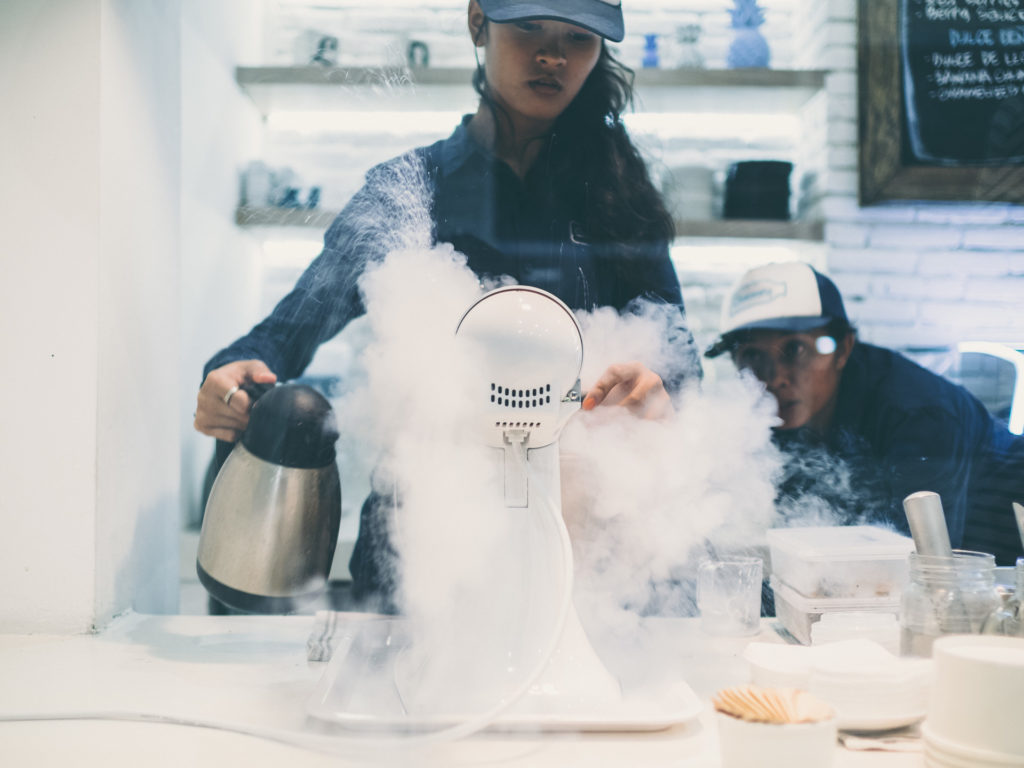 Pouring liquid nitrogen, Creamery, Canggu