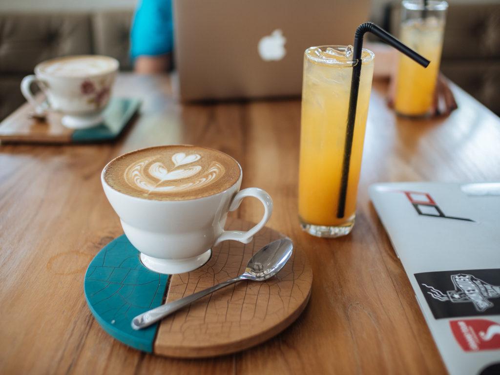 Cappuccino and juice, Hungry Bird, Canggu