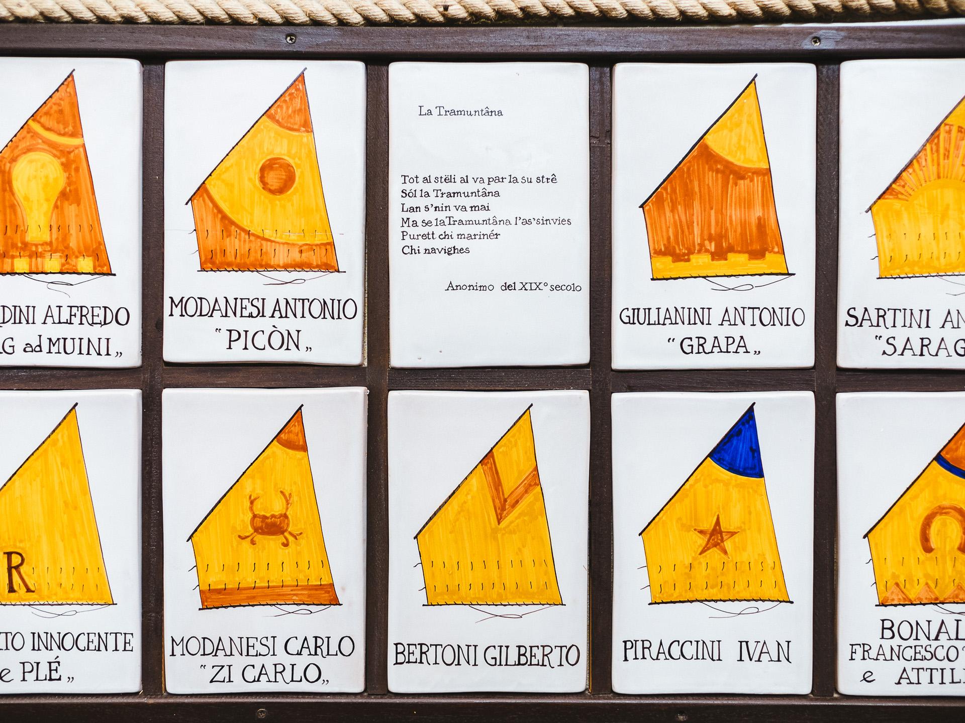 Différentes voiles des pêcheurs de Cervia