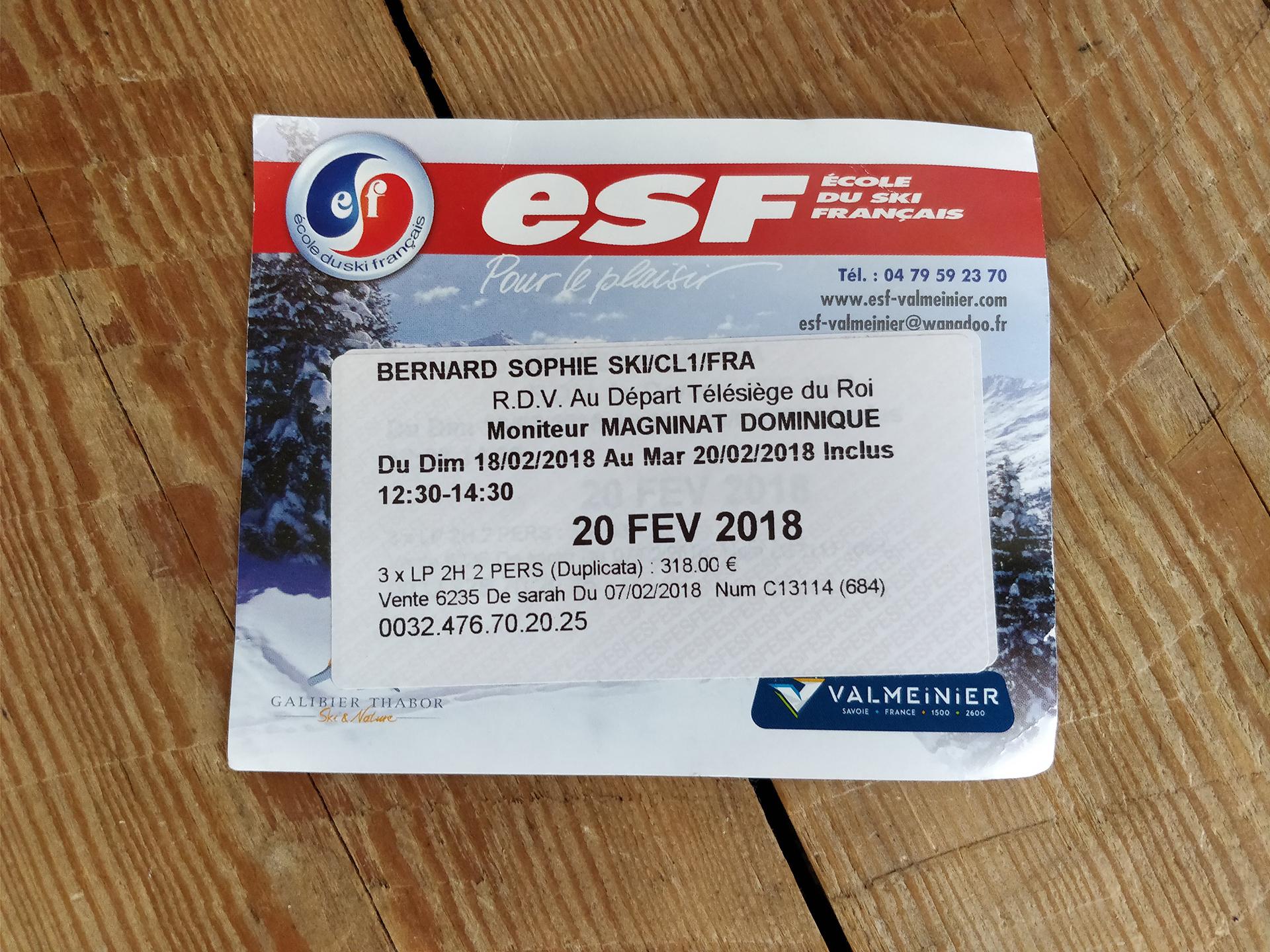 Carte de cours - ESF