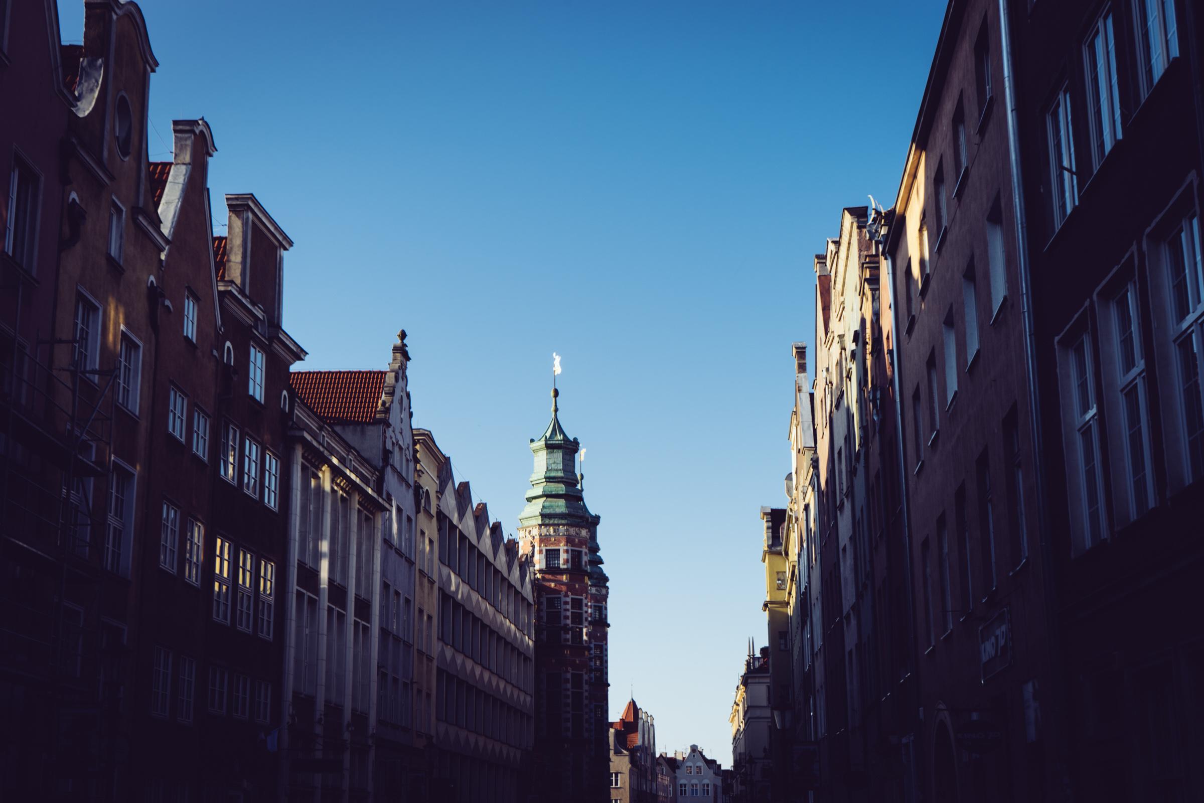 La belle ville de Gdansk au couché du soleil - Pologne